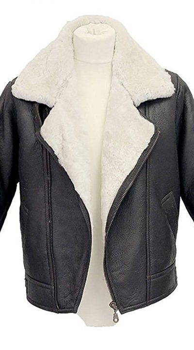 B3 Bomber Jacket Leather with Fur Shearling Hoodie Men