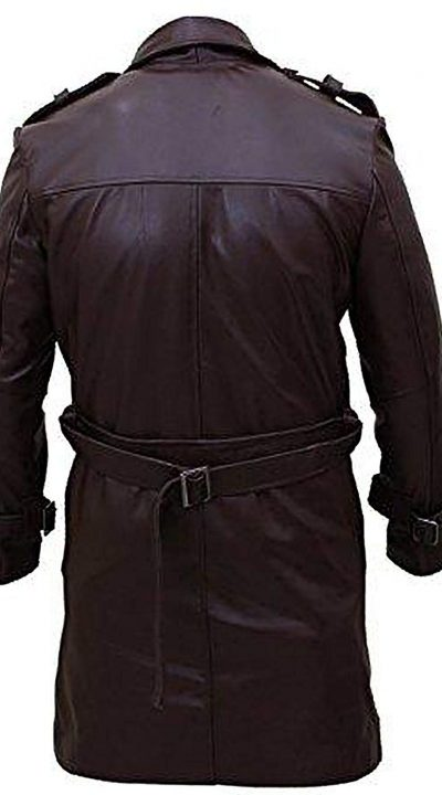 Bay Watchmen Rorschach Men's Style Trench Brown Leather Coat