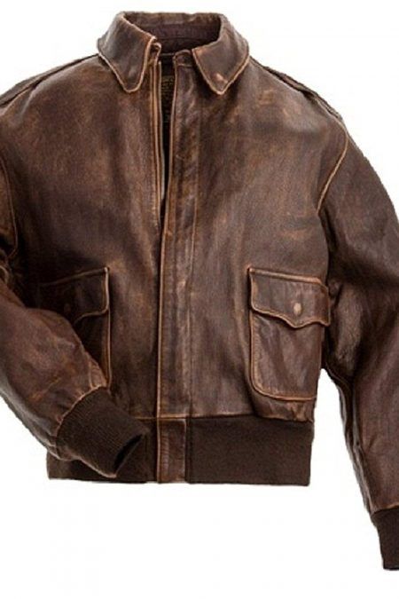 Aviator Distressed Brown Flight Bomber Real Leather Jacket