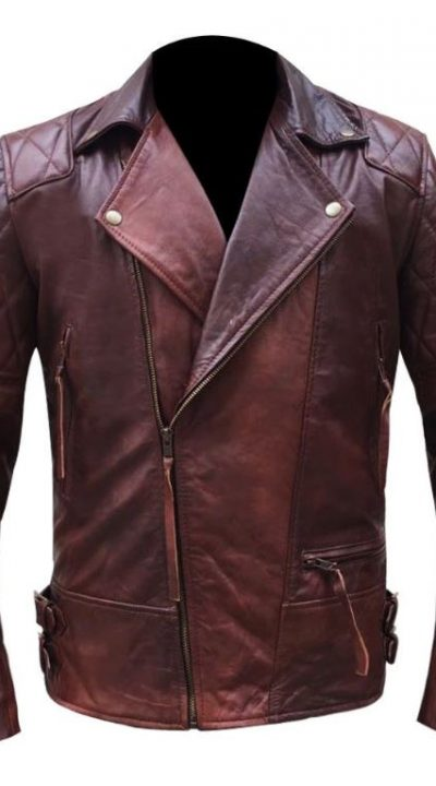 Authentic Red in Brown Shade Genuine Leather Cross Close Jacket