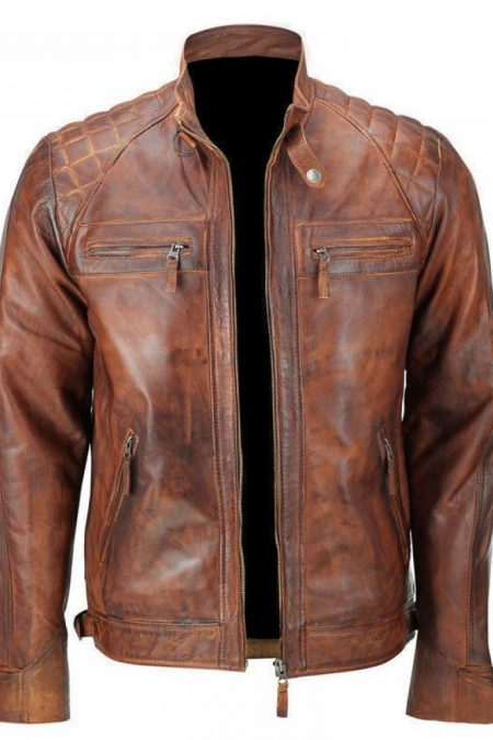CLASSIC DIAMOND CAFE RACER TAN BROWN WAXED LEATHER JACKET