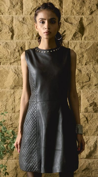 Luxe Black Leather Dress