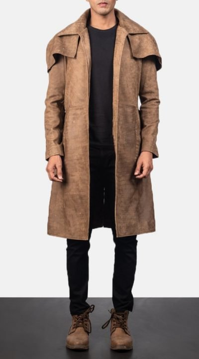 Army Distressed Brown leather duster jacket mens