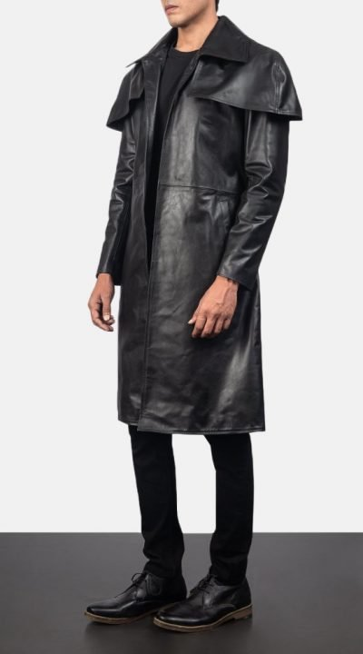 Classic Black Leather Duster