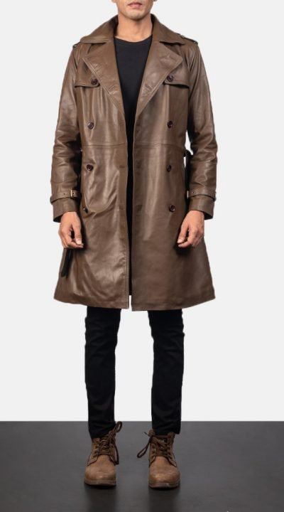 Royson Brown leather duster mens