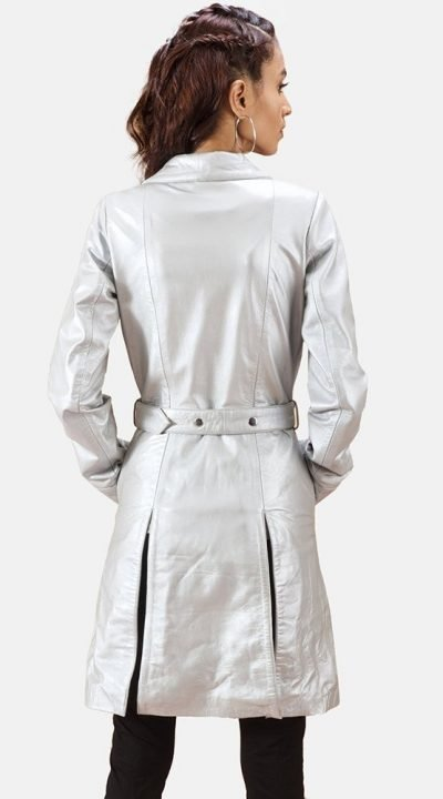 Moonlight Silver Leather Trench Coat