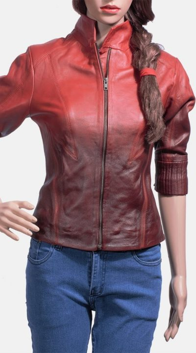Stacy Spice Red Leather Biker Jacket