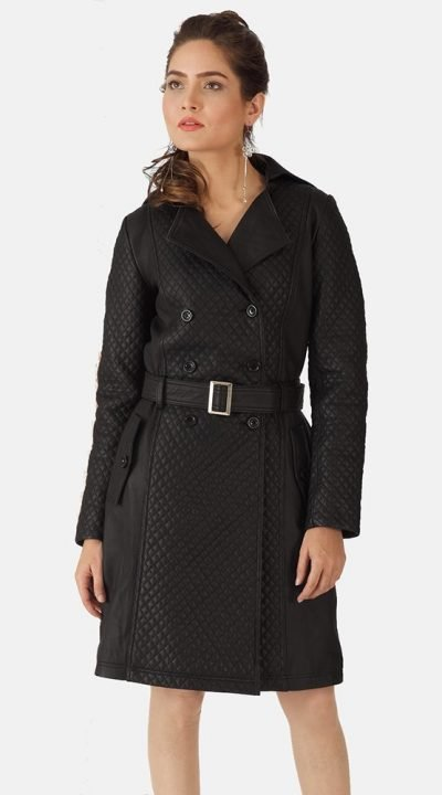 Sweet Susan black leather trench coat womens