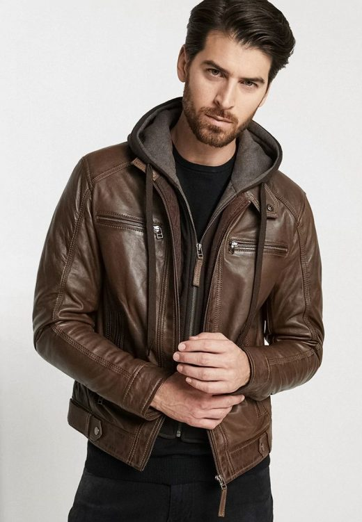 Men's Eric leather jacket with hood