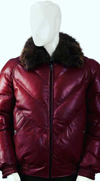 Classic V red leather bomber jacket