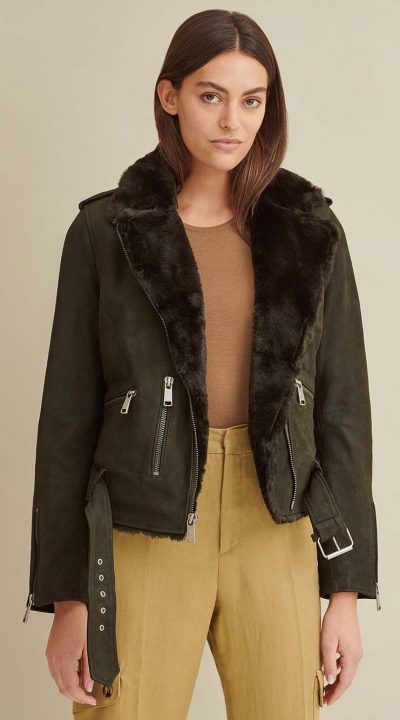 Zoe Moto Leather Jacket with faux fur