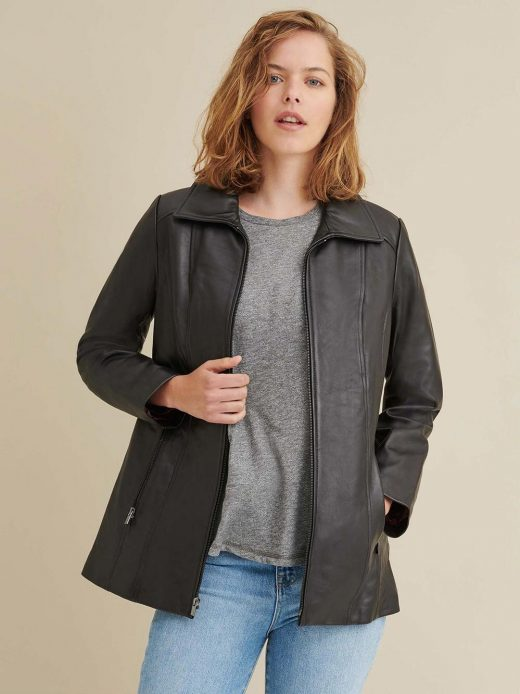 Lindsey Thinsulate leather scuba jacket women's