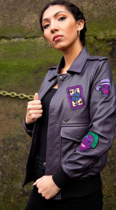 Women's Clown Prince of Crime leather bomber jacket