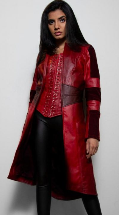 Women's Scarlet Red Leather Trench Coat